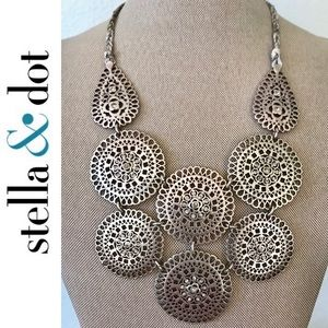 Stella & Dot Medina Silver Bib Necklace
